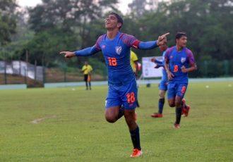 India U-15 national team star Himanshu Jangra celebreating one of his goals in the SAFF U-15 Championship 2019. (Photo courtesy: AIFF Media)