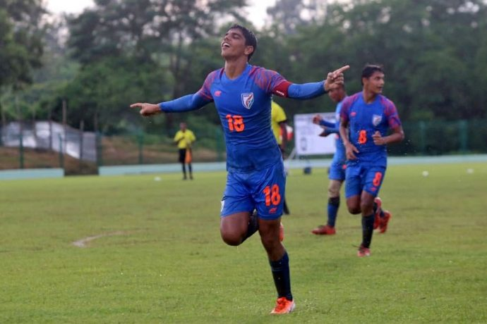 India U-15 national team star Himanshu Jangra celebreating one of his goals in the SAFF U-15 Championship 2019. (Photo courtesy: AIFF Media)