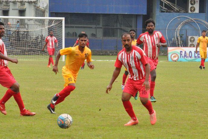 FAO League 2019 match action between Sports Hostel and East Coast Railway. (Photo courtesy: Football Association of Odisha)