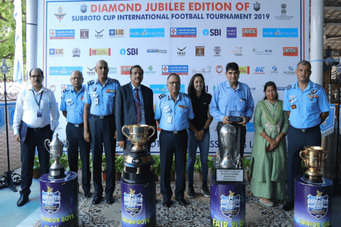 Subroto Cup launch ceremony with India Women's international Dalima Chibber at the Air Force Station, New Delhi. (Photo courtesy: Subroto Mukherjee Sports Education Society)