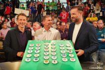 DFB-Pokal (German Cup) Round 2 draw at the Deutsches Fußballmuseum: Alexander Bommes, Stefan Kuntz and Christoph Metzelder. (© CPD Football)