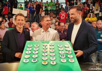 DFB-Pokal (German Cup) Round 2 draw at the Deutsches Fußballmuseum: Alexander Bommes, Stefan Kuntz and Christoph Metzelder. (© CPD Football)