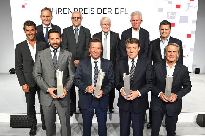 Back row (from left): Karl-Heinz Riedle, Hans-Joachim Watzke, Thomas Schaaf, DFL President Dr. Reinhard Rauball, Jupp Heynckes, DFL CEO Christian Seifert. Front row (from right): Claudio Pizarro, Lothar Matthäus, Otto Rehhagel, Wolfgang Overath. (Photo courtesy: DFL Deutsche Fußball Liga)