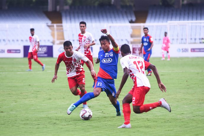 Bengaluru FC captain Naorem Roshan Singh in action against Army Red in the Durand Cup at the Salt Lake Stadium. (Photo courtesy: Bengaluru FC)