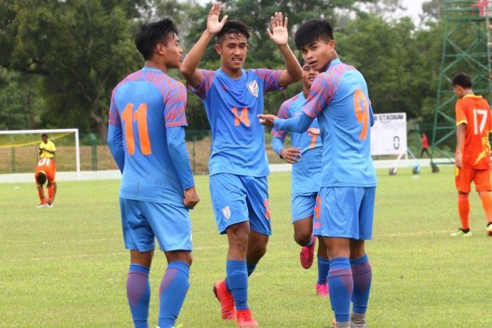 The India U-15 national team celebrating one of their goals at the SAFF U-15 Championship 2019. (Photo courtesy: AIFF Media)