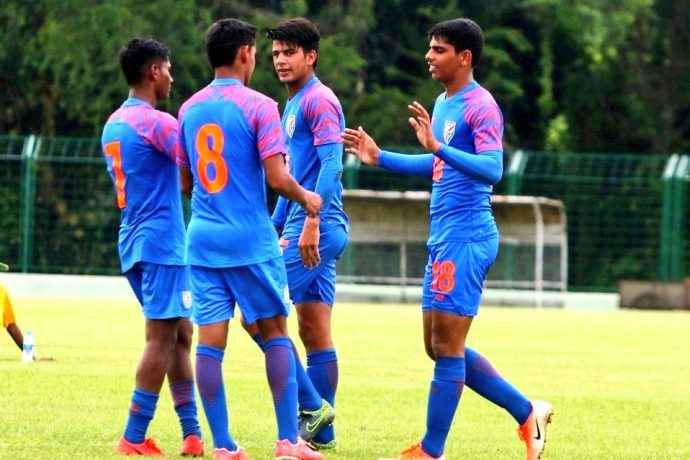 India U-15 national team players celebrating one of their goals in the SAFF U-15 Championship. (Photo courtesy: AIFF Media)