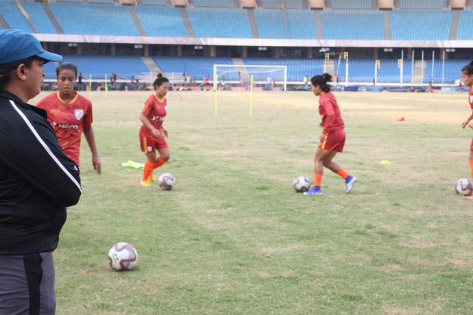 Indian Women's national team training session under the supervision of head coach Maymol Rocky. (Photo courtesy: AIFF Media)