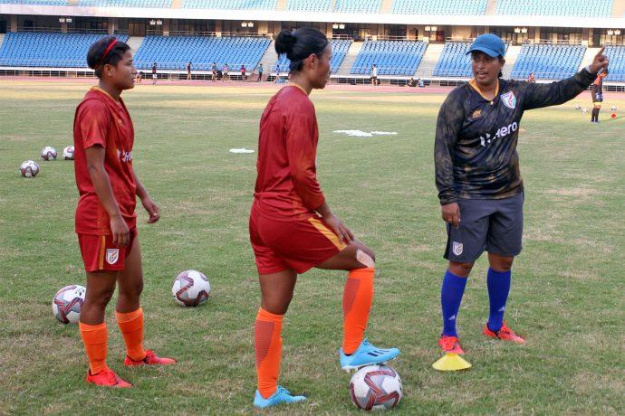 Indian Women's national team Head coach Maymol Rocky during a training session. (Photo courtesy: AIFF Media)