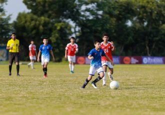 Match action in the Baby League organised by AU Rajasthan FC and the Rajasthan Football Association. (Photo courtesy: AU Rajasthan FC)