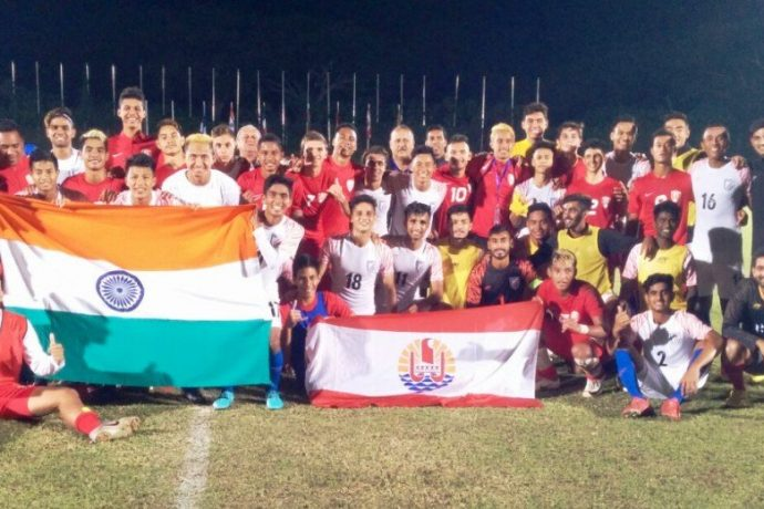 The U-19 MNT of India and Tahiti after the OFC Youth Development Tournament 2019 Final. (Photo courtesy: AIFF Media)