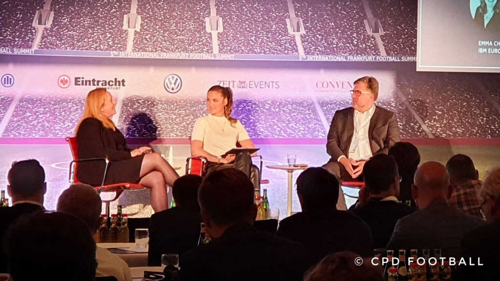 5th International Frankfurt Football Summit 2019: Emma Chan, Associate Partner, Media and Entertainment Industries, IBM iX, Global Business Services IBM, moderator Lisa Ramuschkat and Axel Hellmann, Member of the Executive Board, Eintracht Frankfurt. (© CPD Football)