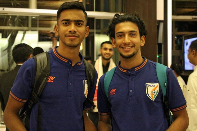 Indian national team players Ashique Kuruniyan and Sahal Abdul Samad. (Photo courtesy: AIFF Media)
