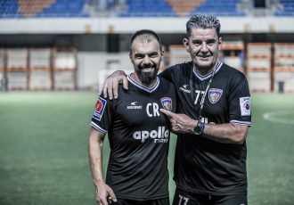 Konstantinos Rostantis, Head of Medicine and Performance & Assistant Coach, and Chennaiyin FC head coach John Gegrory. (Photo courtesy: Chennaiyin FC)