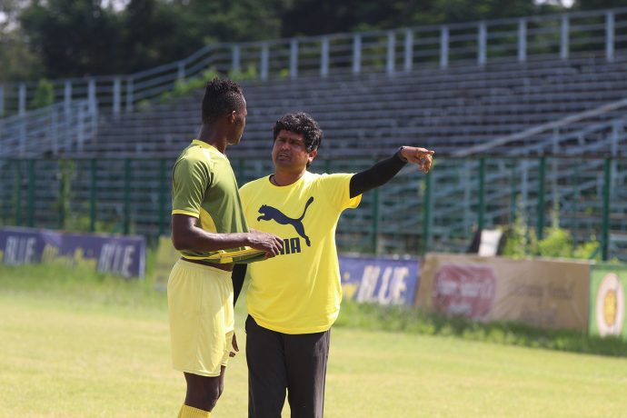 Mohammedan Sporting Club Technical Director Dipendu Biswas at the sidelines of a training session. (Photo courtesy: Mohammedan Sporting Club)