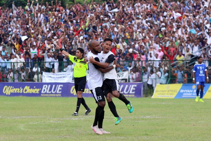 Vanlalbiaa Chhangte (right) celebrating his goal for Mohammedan Sporting Club. (Photo courtesy: Mohammedan Sporting Club)