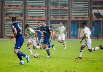 Chennaiyin FC midfielder Rafael Crivellaro in action against ARA FC in a pre-season friendly match at The Arena by Transstadia in Ahmedabad. (Photo courtesy: Chennaiyin FC)