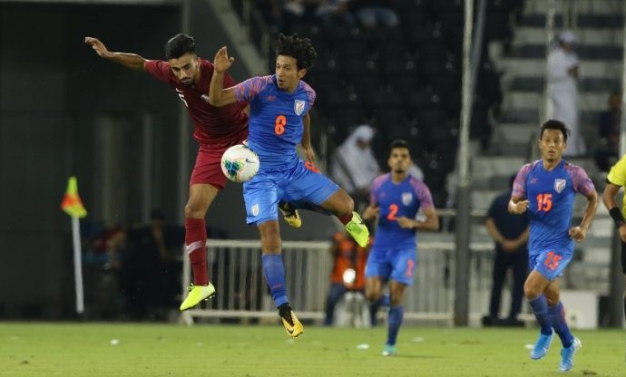 Match action between Qatar and India in a Group E encounter of the joint FIFA World Cup Qatar 2022 and AFC Asian Cup China 2023 Qualifiers. (Photo courtesy: AIFF Media)