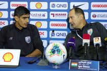 Indian national team goalkeeper Gurpreet Singh Sandhu and head coach Igor Štimac during the pre-match press conference ahead of the joing 2022 FIFA World Cup / 2023 AFC Asian Cup qualifer in Doha, Qatar. (Photo courtesy: AIFF Media)