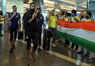 The Indian national team is welcomed by the Qatar Manjappada fan club at their arrival in Doha, Qatar. (Photo courtesy: AIFF Media)