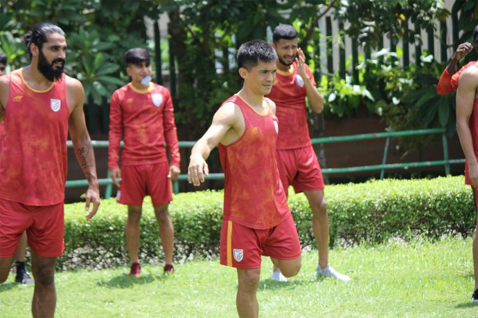 Sunil Chhetri during an Indian national team training session in Guwahati. (Photo courtesy: AIFF Media)