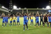 "The Indian national team players and staff performing the famous ""Viking Clap"" after holding AFC Asian Cup champions Qatar to a draw in Doha. (Photo courtesy: AIFF Media)"