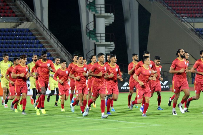 The Indian national team during a training session in Guwahati. (Photo courtesy: AIFF Media)