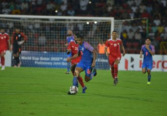 Match action between India and Oman in the opening Group E encounter of the joint FIFA World Cup Qatar 2022 and AFC Asian Cup China 2023 Qualifiers. (Photo courtesy: AIFF Media)