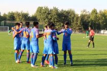 The India U-16 national team players celebrating one of their goals in the AFC U-16 Championship Qualifiers. (Photo courtesy: AIFF Media)