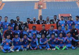 The India U-16 national team squad celebrating their qualification for the AFC U-16 Championship Finals. (Photo courtesy: AIFF Media)
