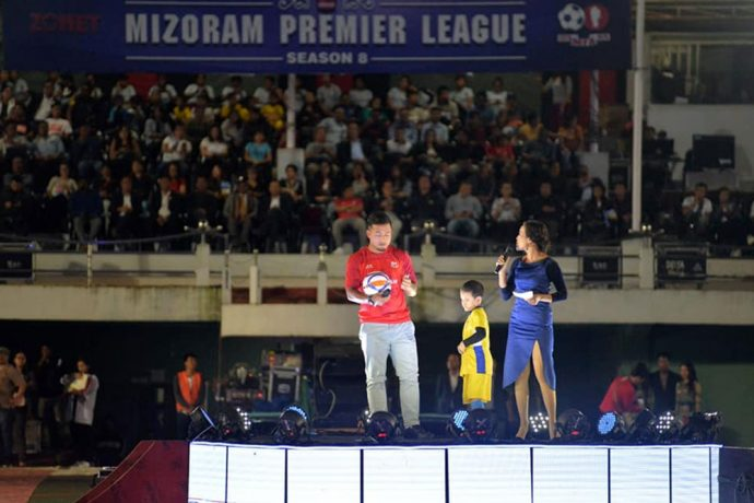 Jeje Lalpekhlua kicking off the Mizoram Premier League (MPL) Season 8 at Lammual Stadium, Aizawl. (Photo courtesy: Mizoram Football Association)