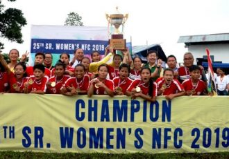 Manipur Women's State Team players and officials celebrating after the victorious 25th Hero Senior Women's National Football Championship 2019-20 final. (Photo courtesy: AIFF Media)