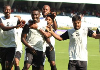 Mohammedan Sporting Club players celebrating one of their goals. (Photo courtesy: Mohammedan Sporting Club)