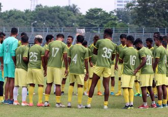 The Mohammedan Sporting Club squad during a training session in Kolkata. (Photo courtesy: Mohammedan Sporting Club)