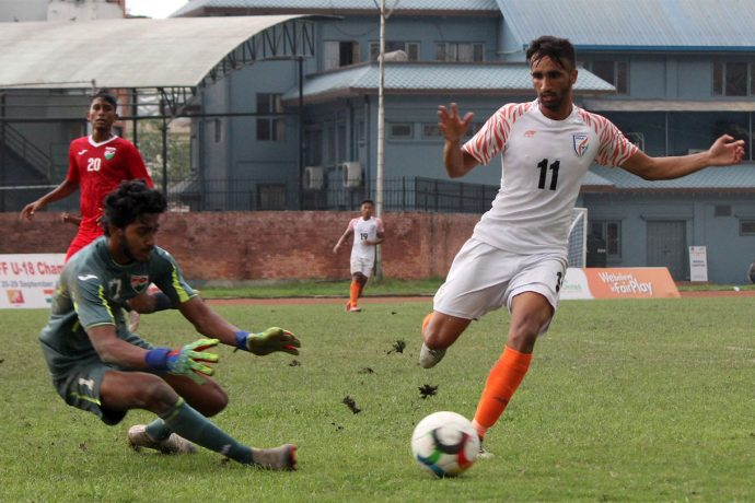 SAFF U-18 Championship match action between the India U-18 MNT and the Maldives. (Photo courtesy: AIFF Media)