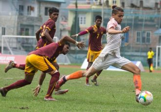 SAFF U-18 Championship match action between the India U-18 national team and Sri Lanka. (Photo courtesy: AIFF Media)
