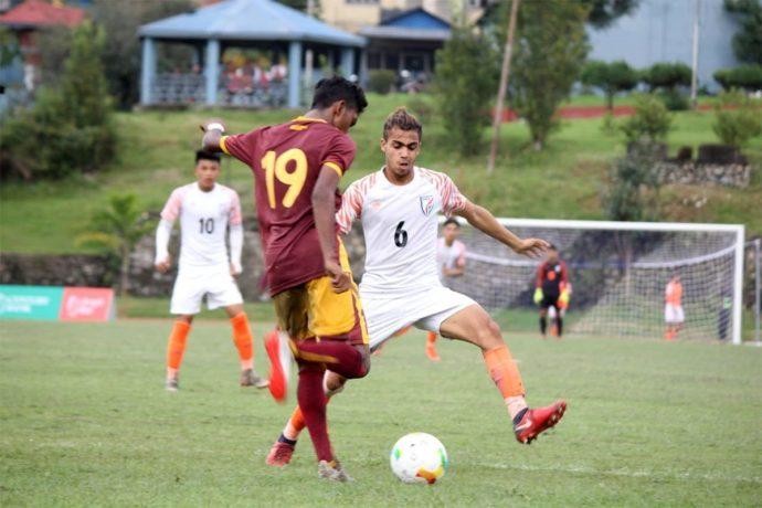 SAFF U-18 Championship match action between the India U-18 national team and Sri Lanka. (Photo courtesy: AIFF Media)