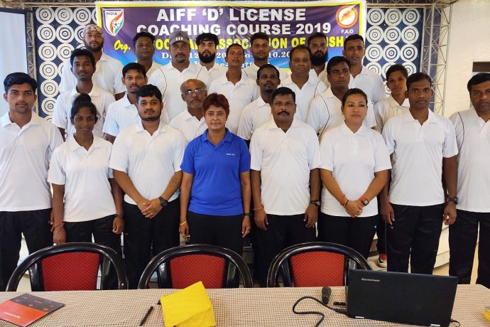 AIFF D License Instructor Kuntala Ghosh Dastidar with the participants of the AIFF D License Coaching Course in Cuttack. (Photo courtesy: Football Association of Odisha)