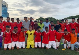 Roots Football School players celebrating their inaugural KSFA Youth Premier League U-15 title.