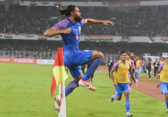 Adil Ahmed Khan celebrates his goal for the Indian national team in a joint FIFA World Cup Qatar 2022 and AFC Asian Cup China 2023 qualifier against Bangaldesh at the Vivekananda Yuba Bharati Stadium in Kolkata. (Photo courtesy: AIFF Media)