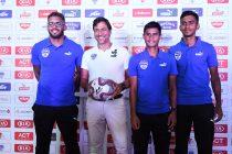 Bengaluru FC Coach Carles Cuadrat along with players Raphael Augusto, Eugeneson Lyngdoh and Ashique Kuruniyan during the Media Day held at the Bengaluru Football Stadium, on October 18, 2019. (Photo courtesy: Bengaluru FC)
