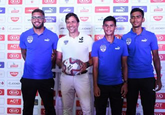 Bengaluru FC Coach Carles Cuadrat along with players Raphael Augusto, Eugeneson Lyngdoh and Ashique Kuruniyan during the Media Day held at the Bengaluru Football Stadium, on October 18, 2019. (Photo courtesy: Bengaluru FC)