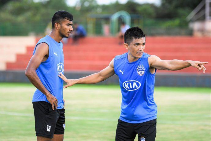 Bengaluru FC skipper Sunil Chhetri giving instructions to Ashique Kuruniyan during a training session. (Photo courtesy: Bengaluru FC)