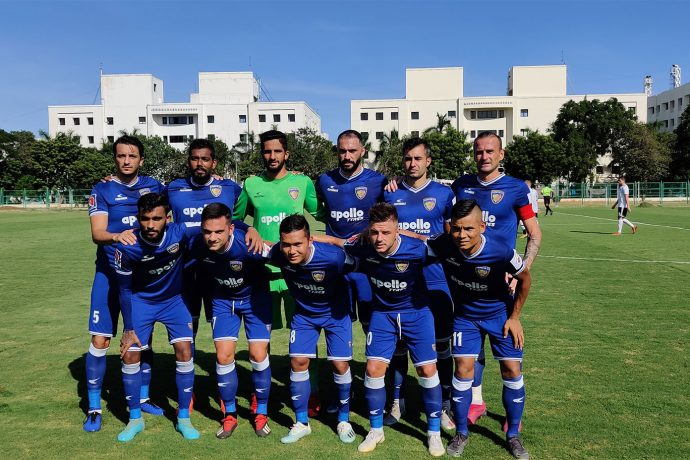 The Chennaiyin FC team before their pre-season friendly match against Real Kashmir FC. (Photo courtesy: Chennaiyin FC)