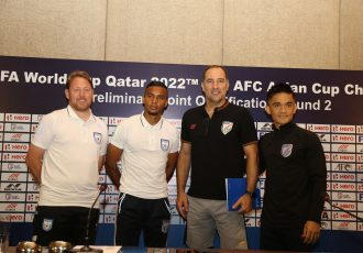 Indian national team head coach Igor Štimac and skipper Sunil Chhetri with their counterparts from Bangladesh at the FIFA World Cup Qatar 2022 Qualifier pre-match press conference in Kolkata. (Photo courtesy: AIFF Media)
