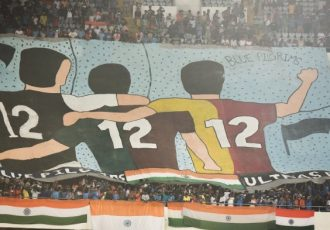 Choreography in support of the Indian national team during the FIFA World Cup Qatar 2022 qualifier against Bangladesh in Kolkata. (Photo courtesy: AIFF Media)