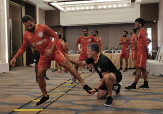 Indian national team players doing warm up and stretching exercises. (Photo courtesy: AIFF Media)