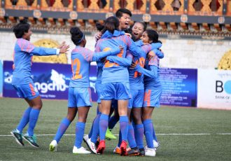 India U-15 Women's national team players celebrating one of their goals in the SAFF U-15 Women's Championship 2019. (Photo courtesy: AIFF Media)