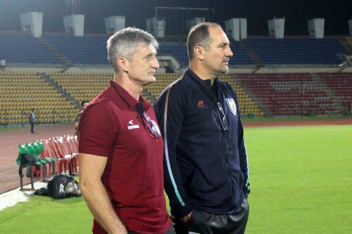 NorthEast United FC head coach Robert Jarni and Indian national team head coach Igor Štimac. (Photo courtesy: AIFF Media)