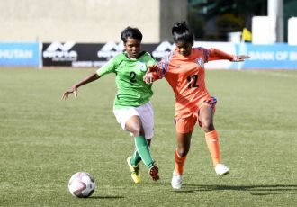 SAFF U-15 Women's Championship match action between the India U-15 Women's national team and Bangladesh. (Photo courtesy: AIFF Media)