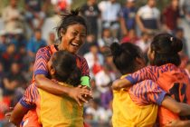 Indian Women's national team captain Ashalata Devi celebrating with her teammates. (Photo courtesy: AIFF Media)